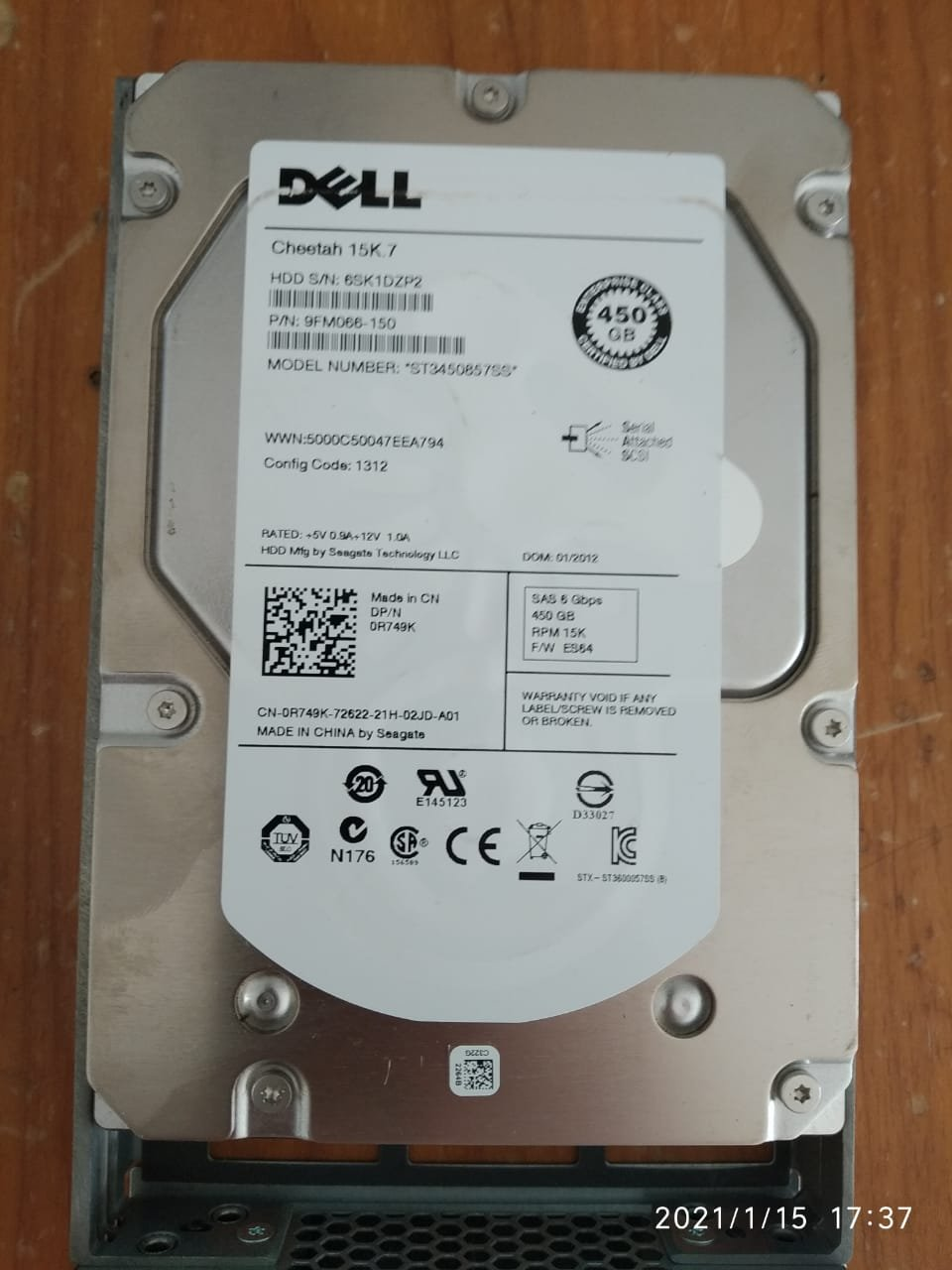 HD SAS DELL 600 MB  15K