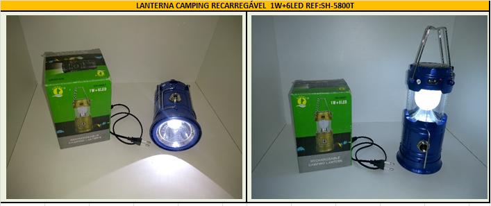 LANTERNA CAMPING RECARREGÁVEL 1w+6LED REF: SH5800T