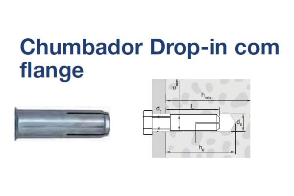 CHUMBADOR DROP-IN AÇO CAB FLANGEADA (CHB DROP-IN C/ FL AC M12X50 ZB)