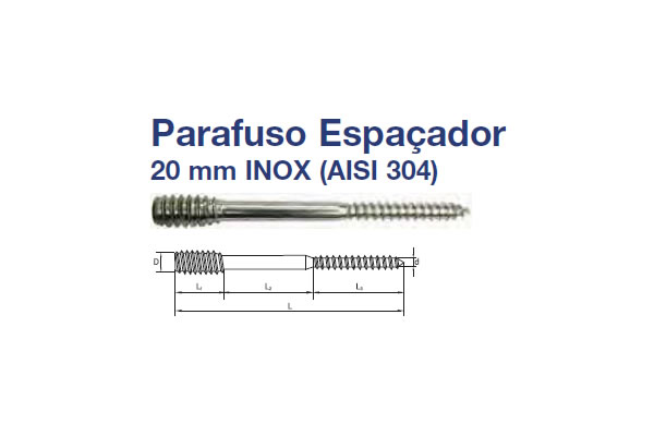 PARAFUSO ESPAÇADOR (PA EP 20MM SI INOX 304 6X120 RP POL)