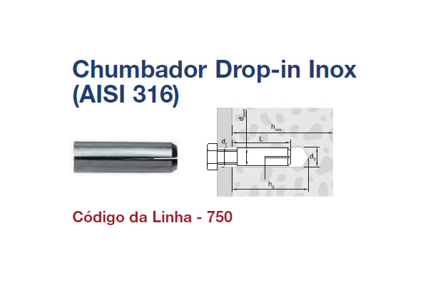 CHUMBADOR DROP-IN INOX (CHB DROP-IN INOX 316 M6X30 POL)