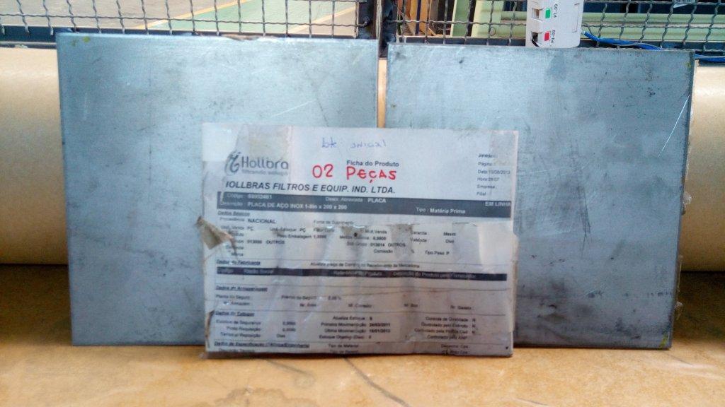 PLACA DE AÇO INOX 1-8in x 200 x 200