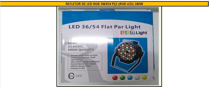 REFLETOR DE LED RGB 3WX54 PÇS (RGB LED) 180W
