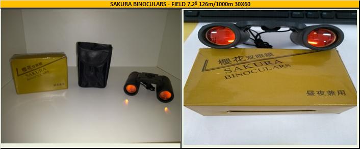 SAKURA BINOCULARS -  FIELD 7.2º 126m/1000m 30x60