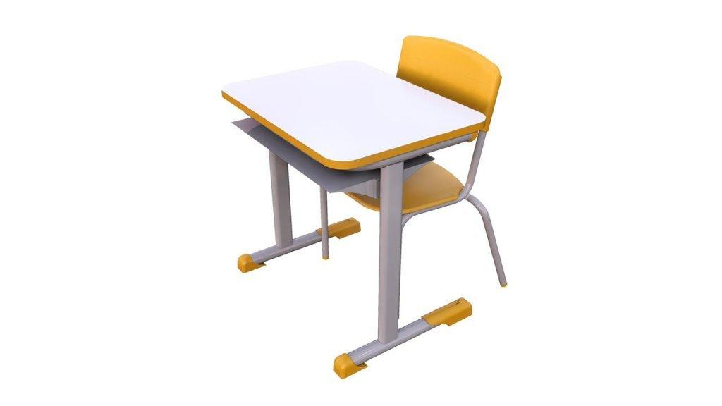 conjunto de mesa e cadeira amarela tamanho 3 certificado 14.006
